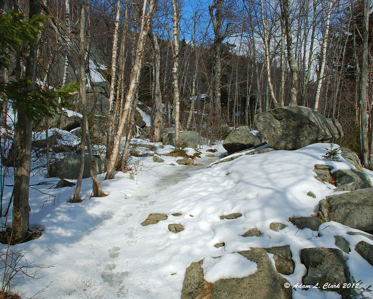 Once on the Red Spot Trail, the ice and snow were pretty constant