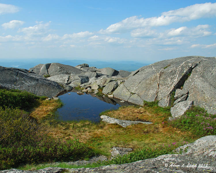 A small pool of water near the summit