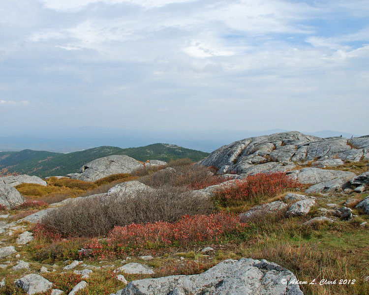 View east over the summit