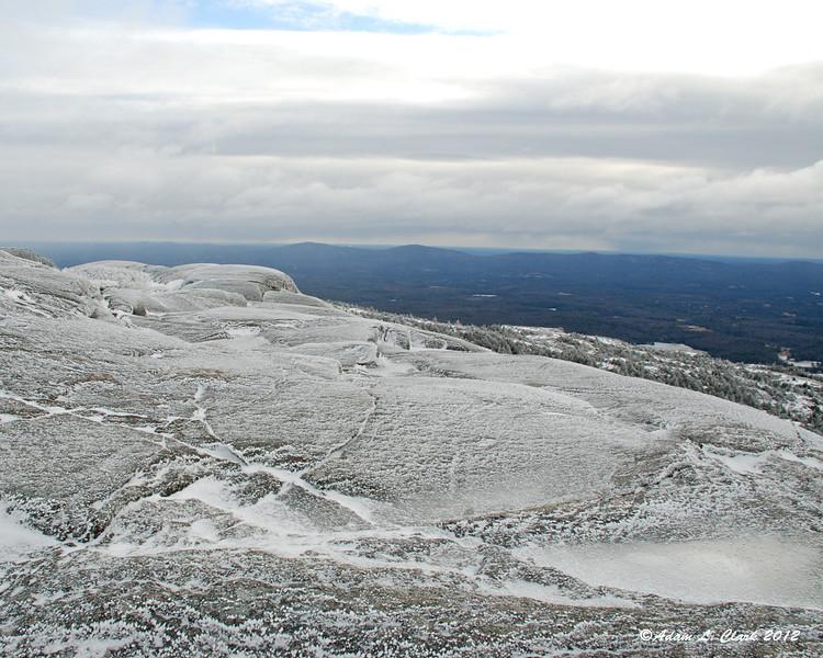 Ice on the open rocks near the summit