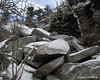 A section of large broken rocks on the Red Spot Trail.  A little tricky coming down with the ice and snow