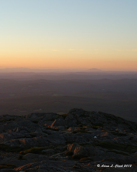 View west from the summit shortly before sunset