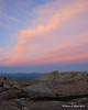 Colorful clouds over the summit just after sunset