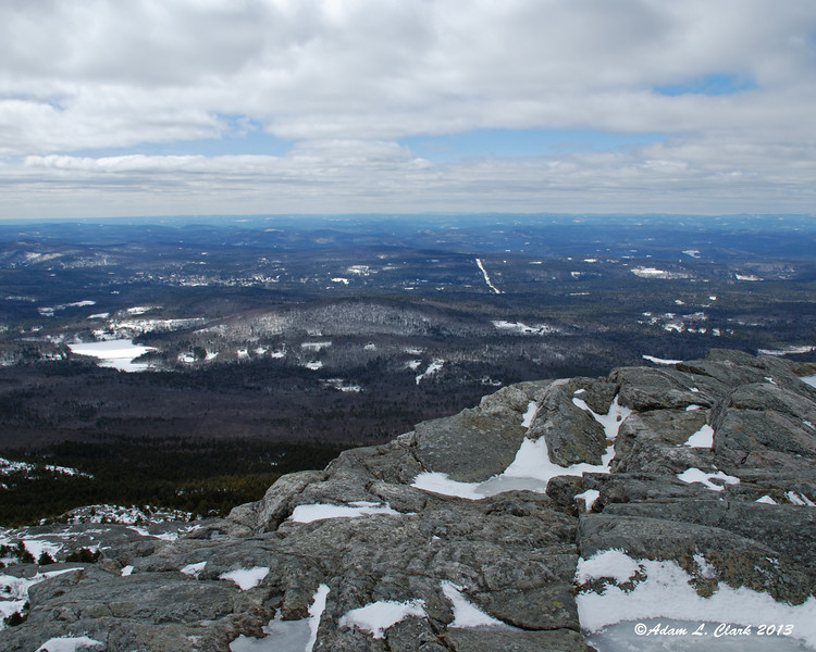 View southwest from the summit with Perkins Pond on the left
