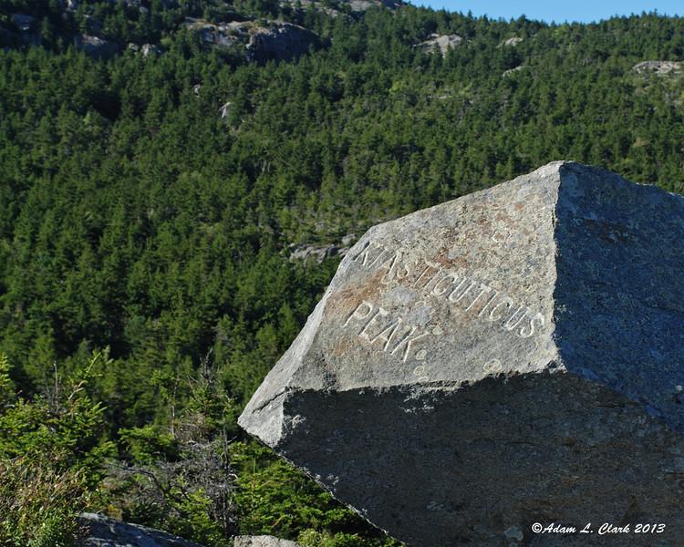 The carving in a large rock on Bald Rock/Kiasticuticus Peak