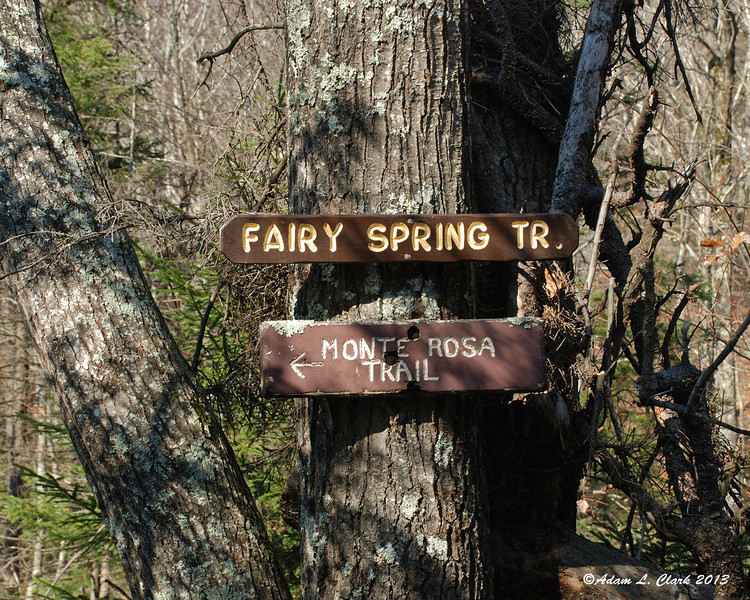 Signs for the Fairy Spring Trail and Monte Rosa Trail