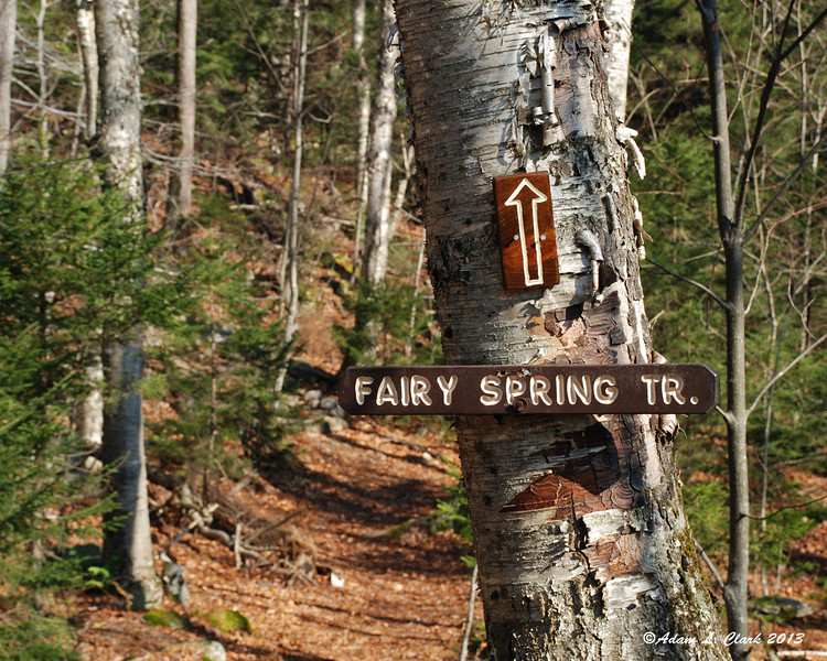Signs for the start of the Fairy Spring Trail