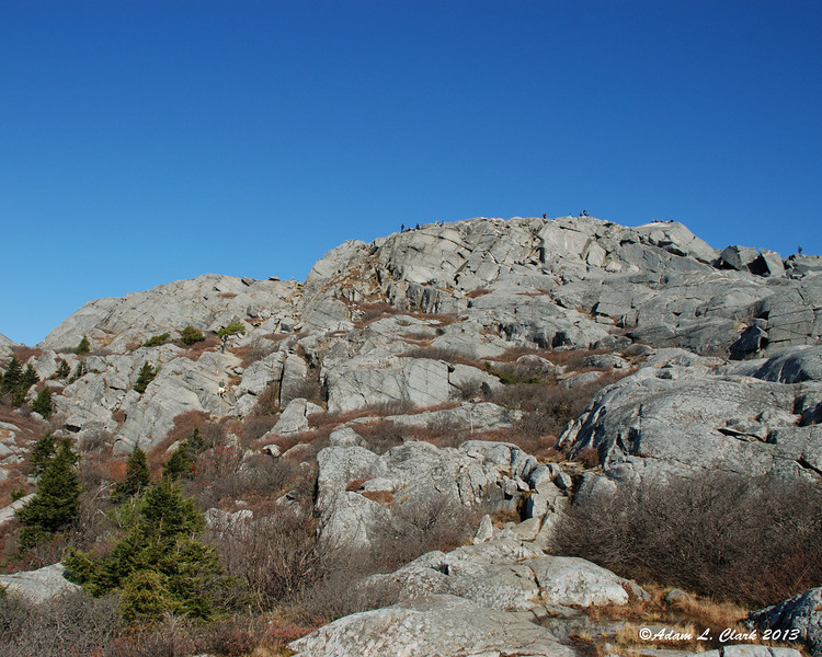 A look back to the summit from the White Arrow Trail