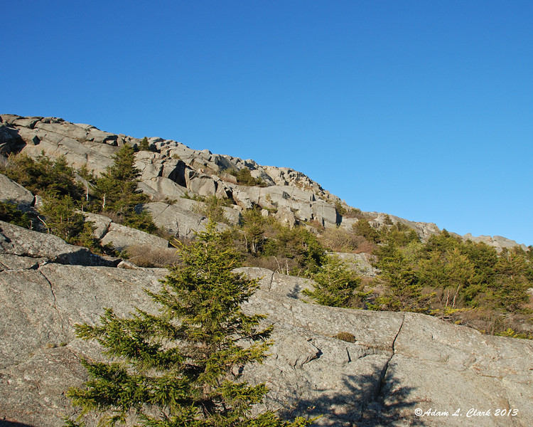 Looking up the rocks towards the summit