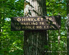 One of the signs for the Hinkley Trail.  The other sign is on the opposite side of the tree