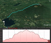Google Earth representation of the hike.  Out and back from the lake to the summit