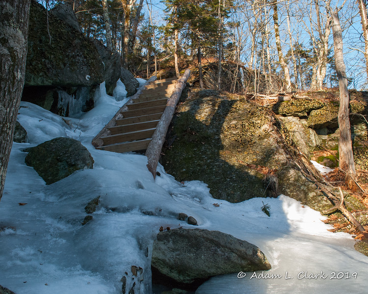 There was lots of ice at the bottom of the ladder on the Cliff Walk Trail