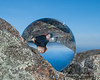 Looking at Miles on the summit through a crystal ball