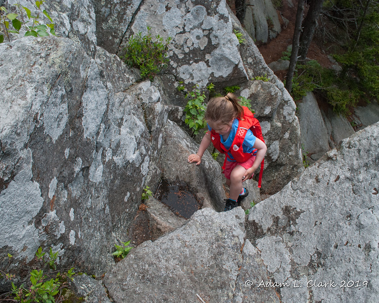 Climbing up the top of the rocky section