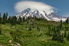 Beautiful Lenticular Cloud over Mt Rainier (with  hikers in foreground)