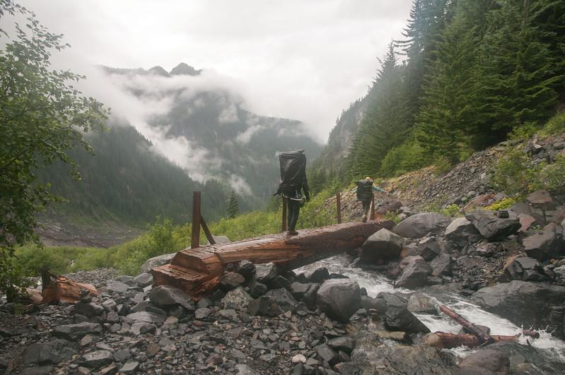 149 - MDW ouzel bridge Tuesday 14 mile hike out - Mt. Rainier backpack - 07