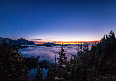 Sunrise, as seen from Sunrise Point, Mt. Rainier, about 4:30 AM on July 21, 2017.