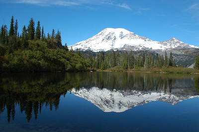 Bench Lake reflects Mt Rainier