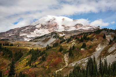 Mt Rainier surrounded by fall color