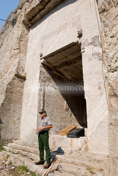 Former Mt. Rushmore National Memorial Superintendant Gerard Baker stands at the entrance to the Hall of Records in the canyon behind Mt. Rushmore, in the Black Hills of South Dakota.