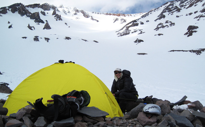 Jeff at our base camp on Tuesday afternoon - Helen Lake - 10,000 Ft.. Here we rest, check our gear and prepare for a morning climb to the summit. Our route is just behind Jeff through the Red Banks area at the top of the screen. In the afternoon, we return to pick up the tent and other gear before descending.