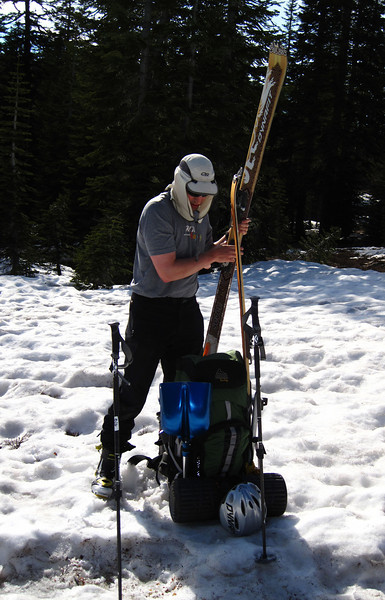 Jeff gets skis ready when snow is deep enough. From here on up he can skin up, except between above 10,000 ft., where we use crampons and ice axes. Later he skis down from the summit.