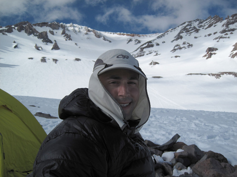 Jeff at our Mt. Shasta base camp - Helen Lake, 10,000 ft.