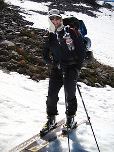 Jeff skinning up to base camp with his gear.Tuesday morning June 12th.