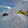 Dug in campsites at Helen Lake. Jeff and Warren's tent is yellow.