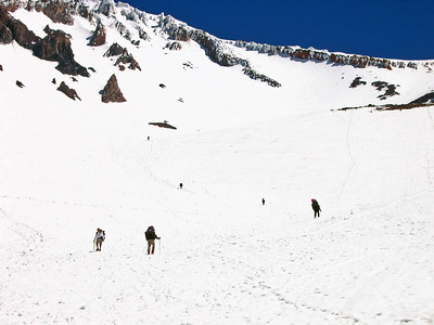Climbers head toward base camp at Helen.