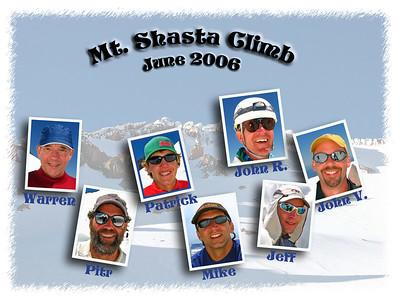 Our group of friends who climbed/skied Mt. Shasta from June 19 - June 21st. Six of us made it to the summit on Wednesday morning June 21st.