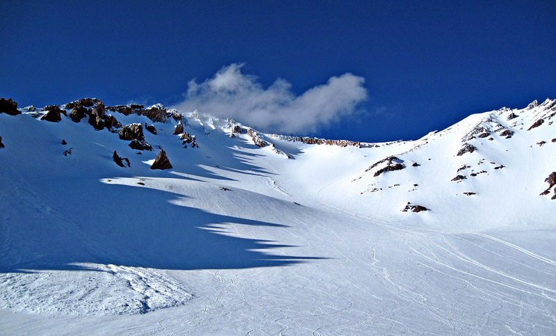 Looking up towards Red Banks and our intended climbing route to the summit. Note avalanche on right side of screen.