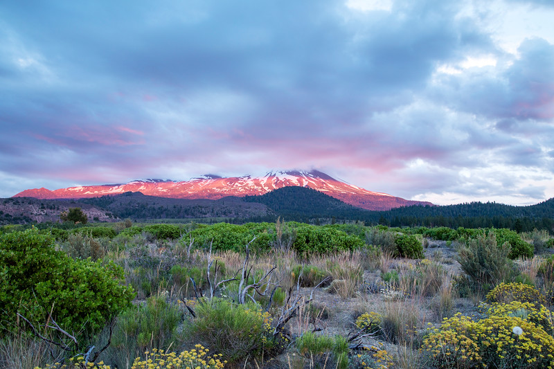 The Sun Sets On Mt. Shasta as Clouds Cover the Top of the Mountain