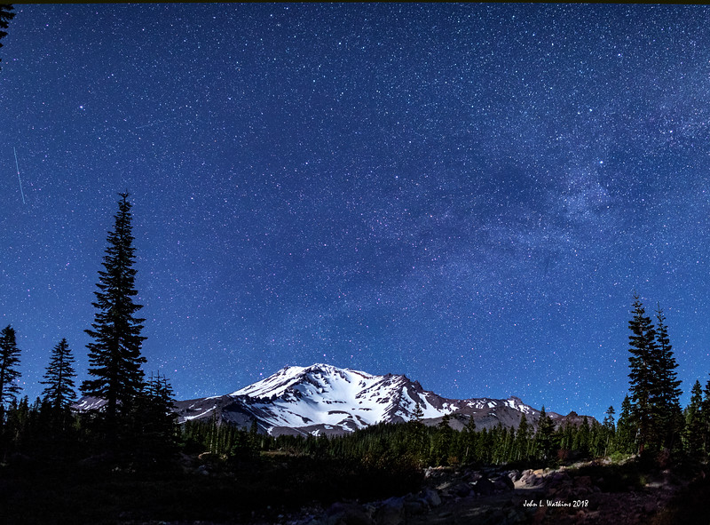 Mt. Shasta Under the Stars and Moonlight