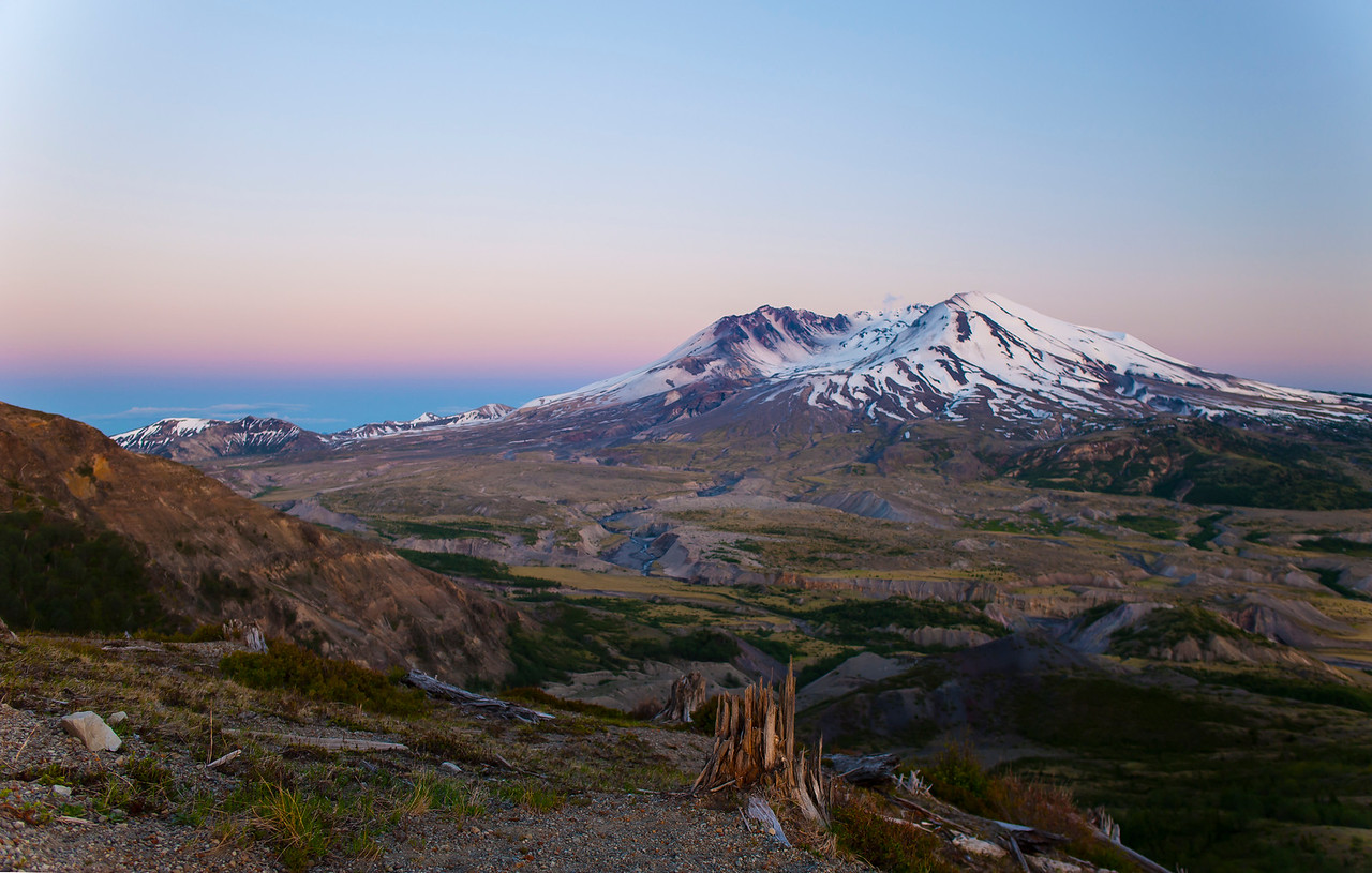 Mt. St. Helens, as seen in the afterglow of sunset on May 26, 2017.