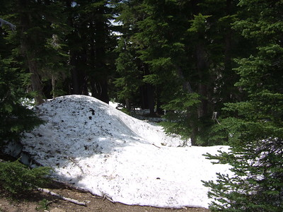 As is common with high elevation hikes this early in the season, much of the trail was still hidden under several feet of snow.