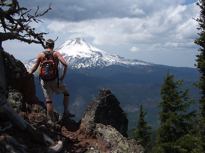 Once near the summit, though, fine views of nearby Mt. Hood were visible.