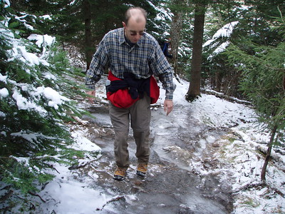 After crossing the snowmobile road at the halfway point the trail became very rocky with lots of ice patches!
