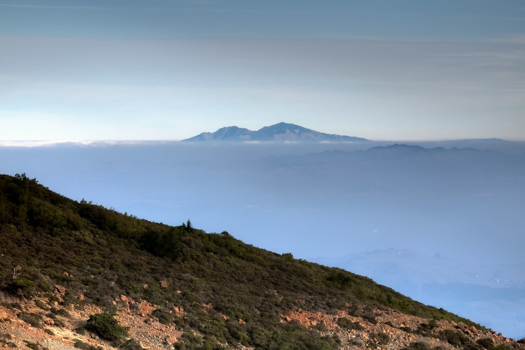 Looking east towards Mt. Diablo, with Mt. Tam's East Peak south slope in the foreground.