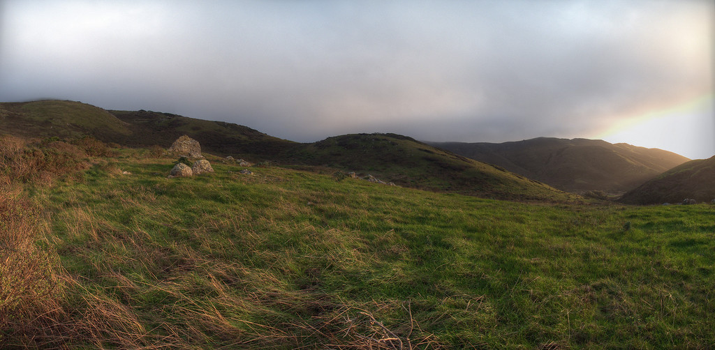 Panorama of grandfather rocks at a favorite tai chi spot. Tennessee Valley Old Springs Trail winter sunset.