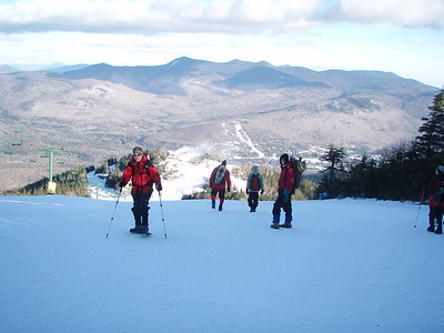 We descended using the Waterville Valley Ski slopes.