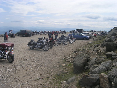 It was motorcycle weekend in New Hampshire and the summit was jammed with bikes and men in leather.