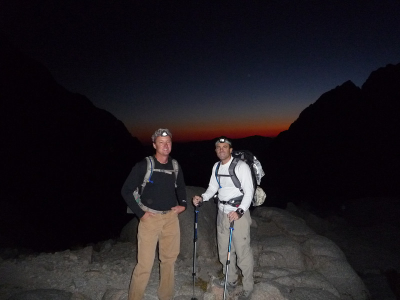 Eric & Eric approaching 12,000 ft. with the sunrise over Death Valley to the east behind them