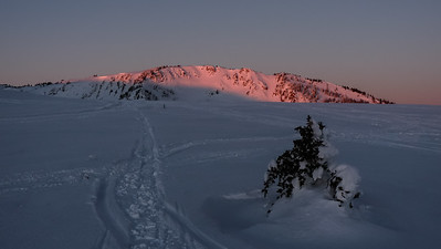 Alpenglow on the north summit of Mt. Harrison.