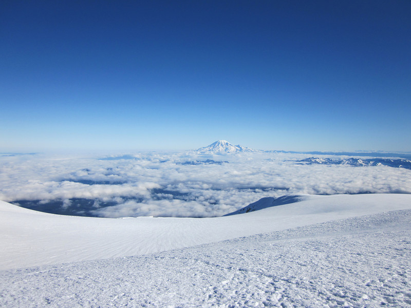 Panorama from the top looking down South and panning West to East. This is Mt. Rainer.