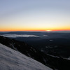 Alpine sunrise, absolutely beautiful, note the slope of the glacier we are climbing to the right. FUN!
