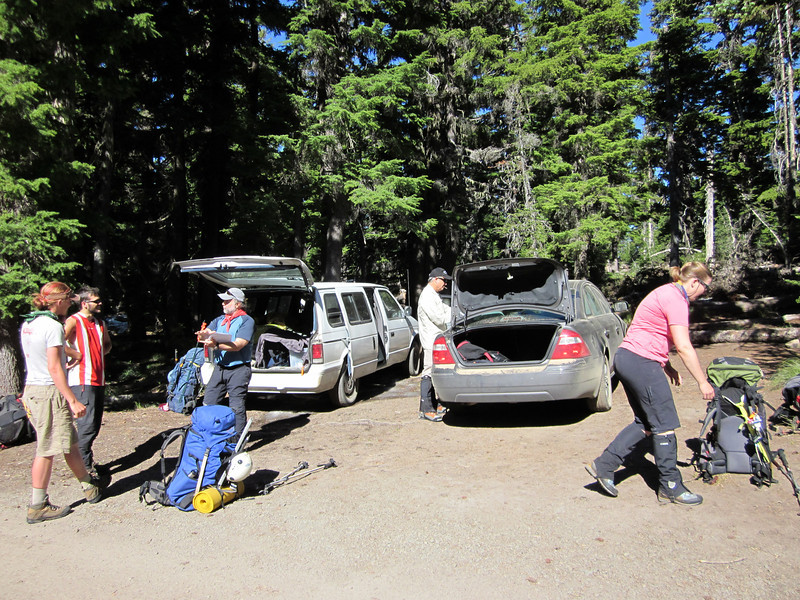Final prep at the trailhead before we leave.