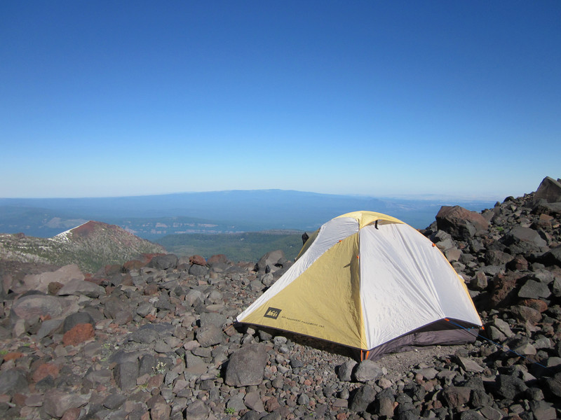 Bob and my tent. Beautiful view to the East and on level ground!