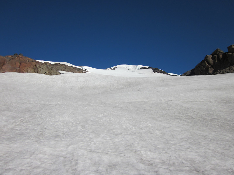 Looking up towards the false summit and our high camp will be on the right.