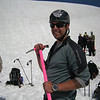 Paul with his pink ice axe - a fashion statement that caught on!<br /> photo by Lynn Lippert